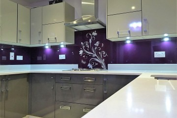 Stencil Decor Splashback - Purple