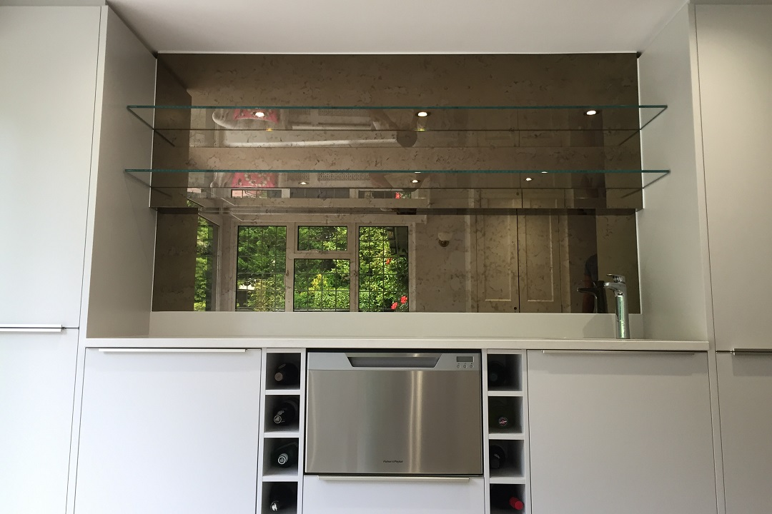 Edge Lit Shelves With Antique Mirror Splashbacks